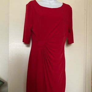 Connected Apparel red wrap look dress size 10
